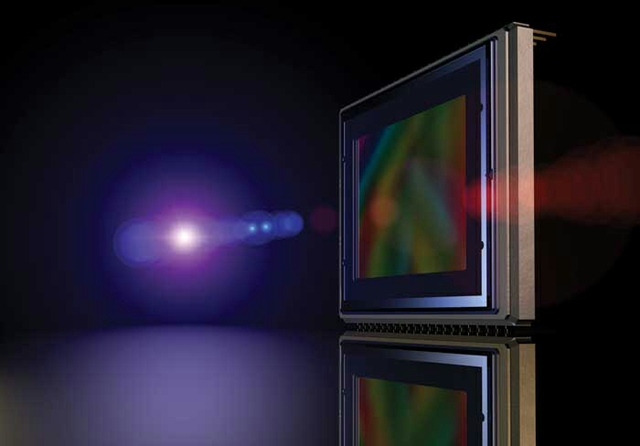 Digital camera sensor isolated on black, realistic 3D rendering