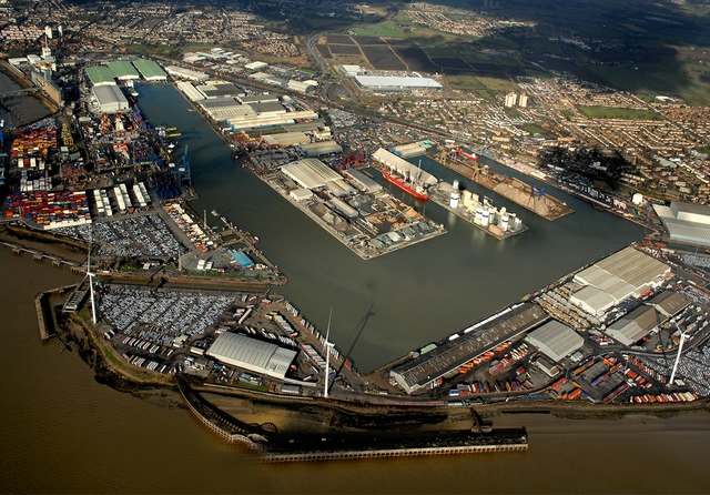Aerial shot of existing Port of Tilbury