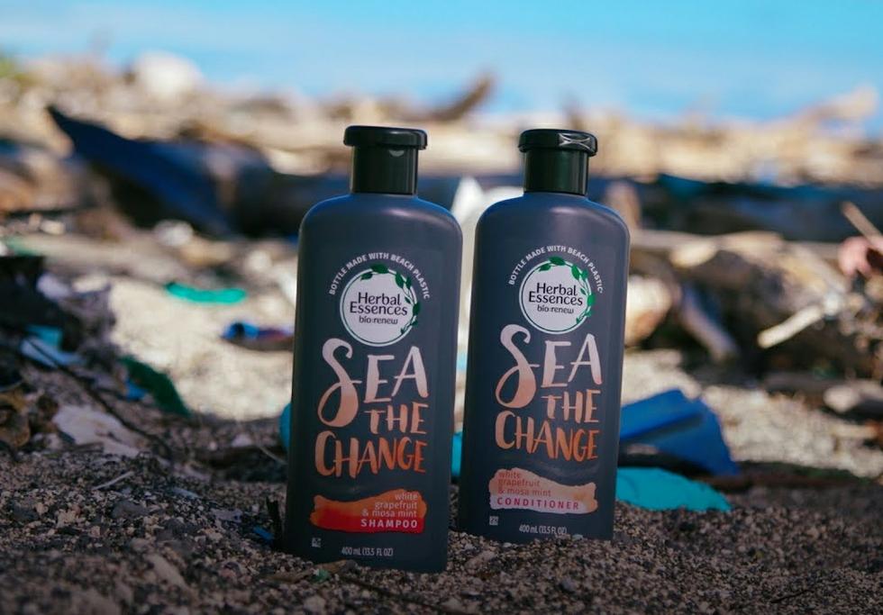 Beach plastic bottles