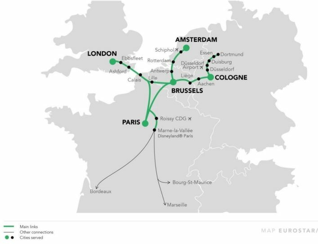 Combined Thalys and Eurostar network
