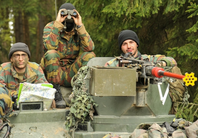 Belgian Army soldiers conduct a reconnaissance and surveillance mission