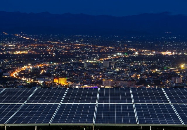 Solar panel and city night