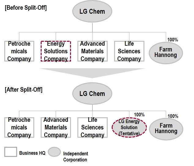 LG Chem spin off corporate structure