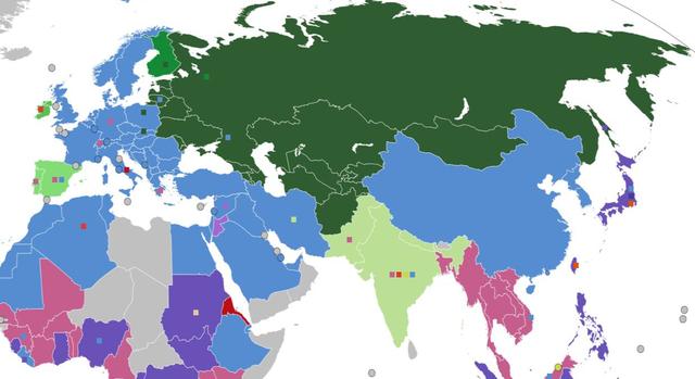 Rail gauge map Eurasia