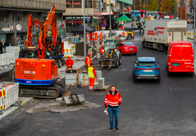 Clean Construction Works at Olav V's gate. Credit: Frederik Varfjell, C40