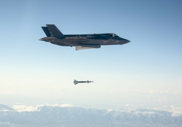 An F-35 Lightning II employs a Guided Bomb Unit-12. Source: Defence Images / Flickr