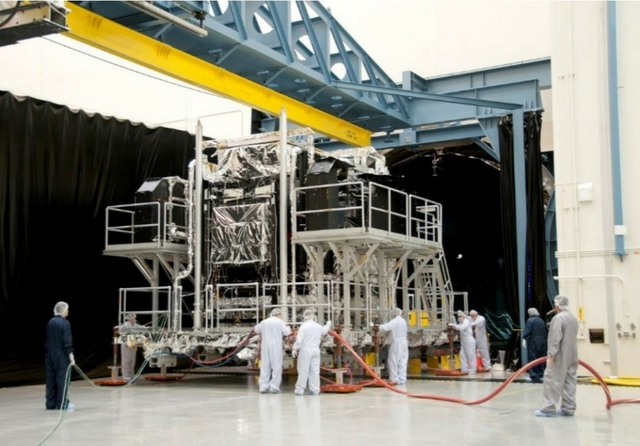 SBIRS 10, 656 lb. satellite moving into test bay on air casters. Source: AeroGo