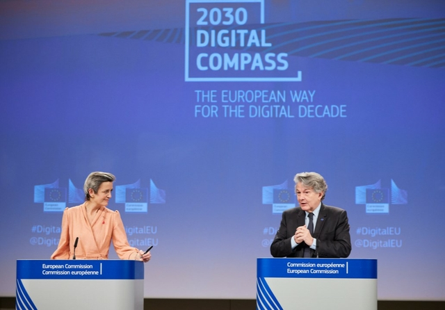 Margrethe Vestager and Thierry Breton presenting the Digital Compass on 9 March 2021. Source: EU Commission