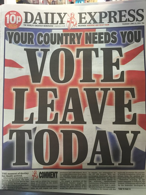 Daily Express. Vote Leave Today. Source: Jeff Djevdet / Flickr