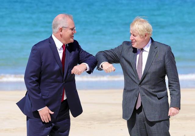 UK PM Boris Johnson meets with Australia PM Scott Morrison. Credit: Boris Johnson via Twitter