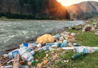 Plastic garbage on the mountain river bank. Photo: Vova Shevchuk / Shutterstock