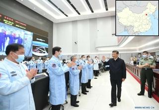 President Xi Jinping at Beijing Aerospace Control Center. Photo: Xinhua