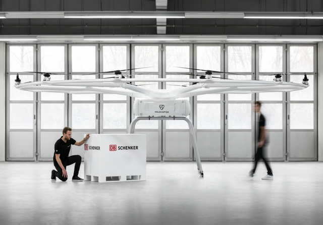Proof of concept for the Schenker and Volocopter electric mobility drone. Credit: Volocopter
