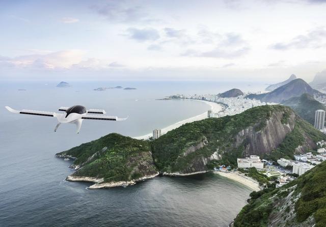 7-seater Lilium Jet flying towards Rio de Janeiro. Photo: Lilium