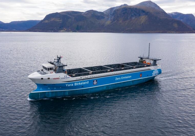 Yara Birkeland autonomous, crewless, net-zero cargo ship. Credit: Yara International