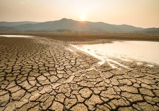 Extreme weather - drying lakebed. Credit: Piyaset / Shutterstock