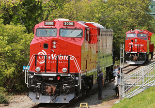 Wabtec's battery-electric FLXdrive locomotive. Credit: Wabtec