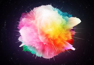 Abstract Big Bang - hydrogen rainbow. Credit: Mikhail Doroshenko  / Shutterstock